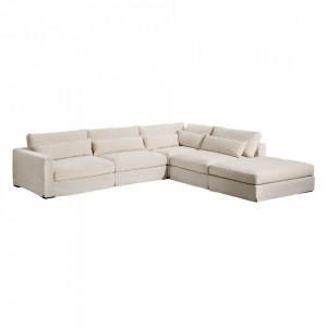 Canapea modulara cu colt bej din poliester si lemn de pin 330 cm Chicester Denzzo