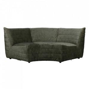 Canapea modulara de colt verde din catifea 200 cm Bag Woood