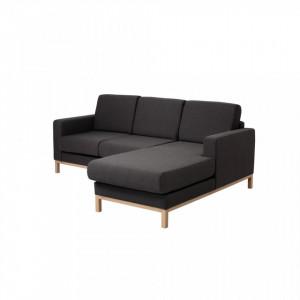 Canapea neagra din poliester pentru 2 persoane Scandic Right Custom Form