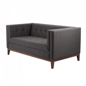 Canapea neagra din textil si lemn pentru 2 persoane Tom Custom Form