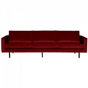 Canapea rosie din catifea pentru 3 persoane Rodeo Be Pure Home