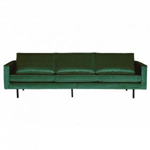 Canapea verde padure din catifea pentru 3 persoane Rodeo Be Pure Home