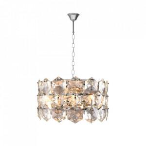 Candelabru argintiu din cristal si metal cu 6 becuri Austin Milagro Lighting