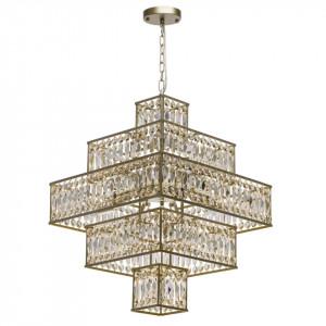 Candelabru auriu din metal cu 16 becuri Crystal Square MW Glasberg