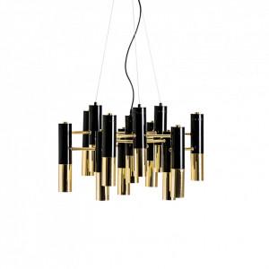 Candelabru auriu/negru din metal cu 13 becuri Lena Vical Home