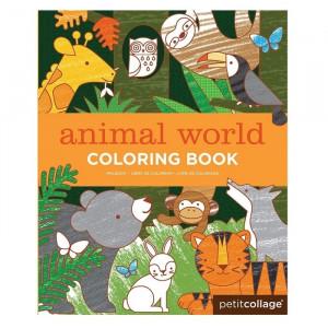 Carte de colorat pentru copii World of Animals Petit Collage