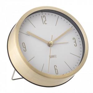 Ceas de masa auriu rotund din aluminiu cu fundal alb 11,5x4 cm Bloomingville
