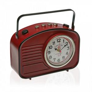 Ceas de masa rosu/negru din metal 22x23 cm Red Radio Versa Home