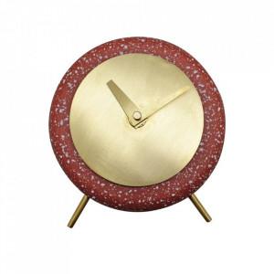 Ceas de masa rosu rotund din terrazzo 17 cm Muzz Zago