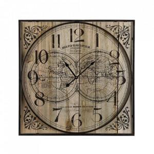 Ceas de perete patrat maro/negru din lemn si metal 59x59 cm Mappemonde Versa Home