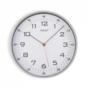Ceas de perete rotund argintiu/alb din plastic 30,5 cm Blige Versa Home
