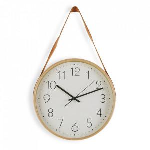 Ceas de perete rotund galben/alb din lemn si piele 31,7x53 cm Adele Versa Home