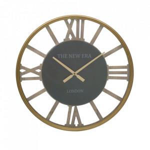 Ceas de perete rotund maro din MDF si fier 60 cm New Era Mauro Ferretti