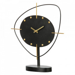 Ceas negru rotund de masa din fier 33x35 cm Clock Be Pure Home