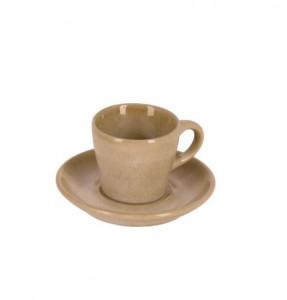 Ceasca maro din ceramica cu farfurioara Vreni La Forma