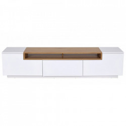 Comoda TV alba/maro din MDF 180 cm Lowboard Light Brown Invicta Interior