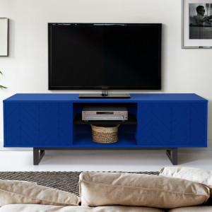 Comoda TV albastra/neagra din lemn si PAL 150 cm Camden Herringbone Woodman