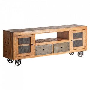 Comoda TV maro din lemn de mango si fier 170 cm Antrim Vical Home