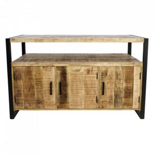 Comoda TV maro/neagra din lemn si fier 130 cm Havana Three HSM Collection