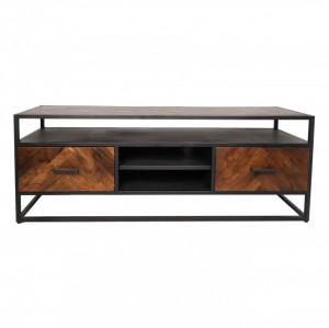 Comoda TV maro/neagra din lemn si fier 150 cm Saint-Maxime HSM Collection