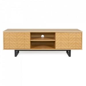 Comoda TV maro/neagra din lemn si PAL 150 cm Camden Herringbone Woodman