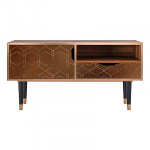 Comoda TV multicolora din MDF si lemn 114,2 cm Chocolate Bar Sara Furny