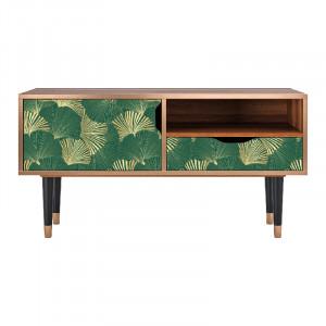 Comoda TV multicolora din MDF si lemn 114,2 cm Gold Ginkgo Sara Furny