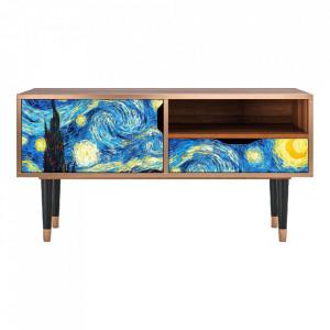 Comoda TV multicolora din MDF si lemn 114,2 cm The Starry Night By Vincent Van Gogh Sara Furny