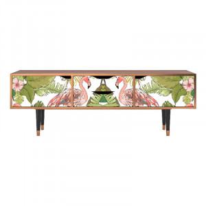 Comoda TV multicolora din MDF si lemn 170 cm Sweet Flamingo Eve Furny
