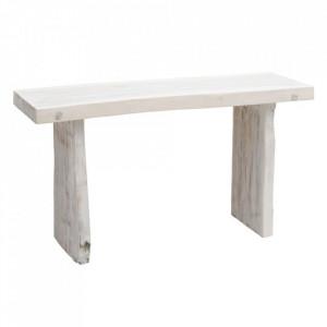 Consola alba din lemn de suar 150 cm Denzzo