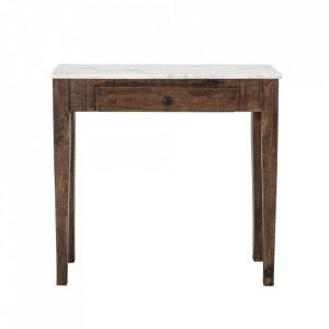 Consola alba/maro din lemn de mango si marmura 79 cm Berna Creative Collection