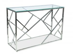 Consola argintie din metal si sticla 120 cm Escada Signal Meble