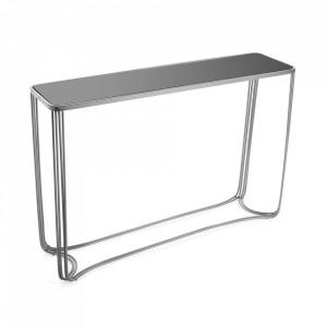 Consola argintie din sticla si metal 110 cm Lucinda Versa Home