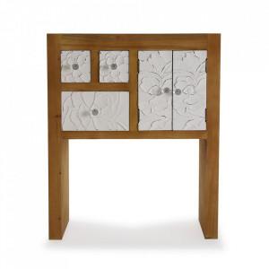 Consola maro/alba din lemn si MDF 63 cm Agnette Entry Versa Home