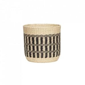 Cos crem/negru din hartie Nature Round Basket Hubsch