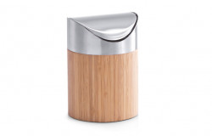 Cos de gunoi maro/argintiu din lemn si inox pentru birou 12x17 cm Table Trash Can Zeller