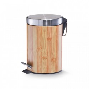 Cos de gunoi maro/argintiu din metal 3 L Bamboodekor Zeller