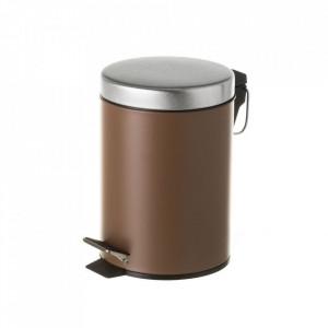 Cos de gunoi maro/argintiu din metal 3 L Burna Unimasa