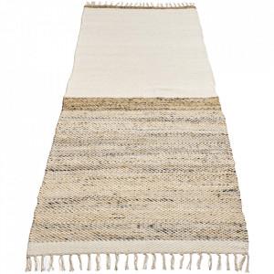 Covor alb din lana si iuta 80x250 cm Hawes Bolia