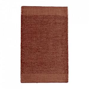 Covor alb/maro ruginiu din lana si iuta 90x140 cm Rombo Woud