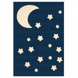 Covor albastru inchis pentru copii din polipropilena 140x200 cm Moon and Stars Zala Living