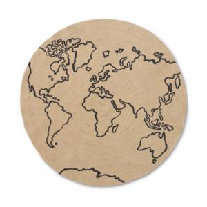 Covor crem/negru din iuta 130 cm World Ferm Living