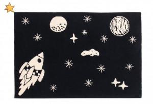 Covor dreptunghiular negru/alb din bumbac 140x200 cm Universe Lorena Canals