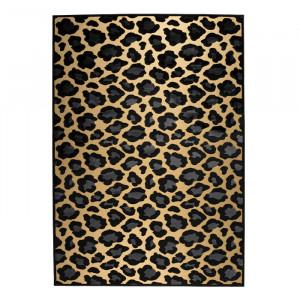 Covor galben/negru din viscoza si poliester 200x300 cm It's A Wild World Mama Panther Bold Monkey