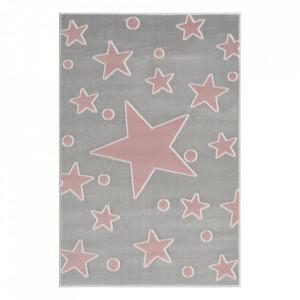 Covor gri argintiu/roz din polipropilena si iuta Estrella Velour Happy Rugs (diverse dimensiuni)