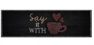 Covor gri/maro bucatarie din poliamide 45x140 cm With Coffee Zala Living