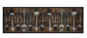 Covor maro bucatarie din poliamide 50x150 cm Fork Spoon Zala Living