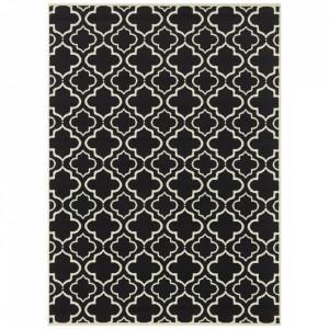 Covor negru/crem din polipropilena Retro Geometric The Home (diverse dimensiuni)