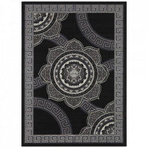 Covor negru din polipropilena Retro Floral The Home (diverse dimensiuni)