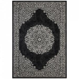 Covor negru/gri antracit din bumbac si viscoza 160x230 cm Floral Orient The Home